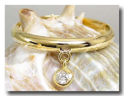 ピンキーリング ピンキーリングダイヤモンドリング ダイヤモンド イエローゴールドk18指輪 ダイヤ 4月誕生石 ストレート 2.3 送料無料
