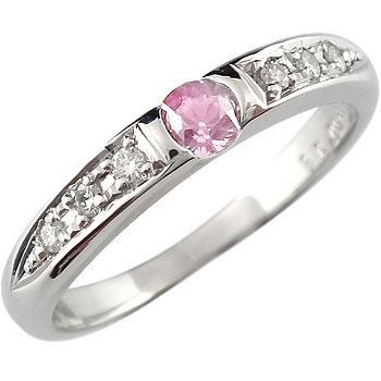【送料無料】ピンクサファイア リング ダイヤモンド 指輪 ピンキーリング ホワイトゴールドk18 9月誕生石 18金 ダイヤ ストレート 贈り物 誕生日プレゼント ギフト ファッション
