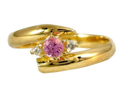 ピンキーリング ピンクサファイア リング ダイヤモンド 指輪 イエローゴールドk18 9月誕生石 18金 ダイヤ ストレート 2.3 宝石 送料無料