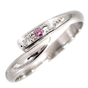 ピンキーリング ピンキーリングダイヤモンドリング ダイヤモンド ピンクサファイアホワイトゴールドk18指輪 18金 ダイヤ 9月誕生石 ストレート 宝石 送料無料