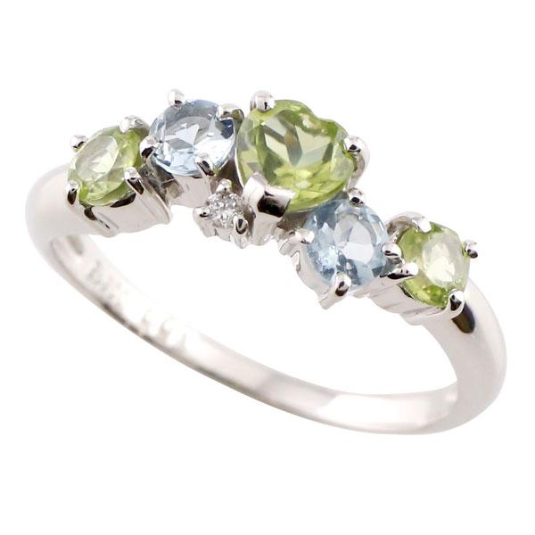 【送料無料】ハート ペリドット リング 指輪 8月誕生石 アクアマリン ダイヤモンド ホワイトゴールドk18 ピンキーリング 18金 ダイヤ 贈り物 誕生日プレゼント ギフト ファッション
