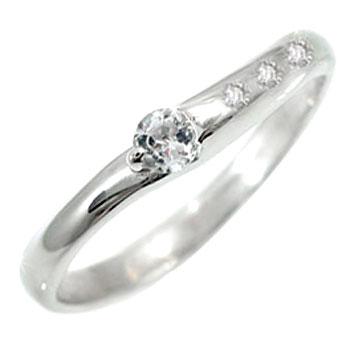 指輪 ピンキーリング アクアマリン ダイヤモンド ホワイトゴールドk18 ダイヤ 3月誕生石 18金 ストレート 贈り物 誕生日プレゼント ギフト ファッション