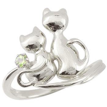 猫 プラチナ リング ペリドット 指輪 8月誕生石 ストレート 贈り物 誕生日プレゼント ギフト ファッション 妻 嫁 奥さん 女性 彼女 娘 母 祖母 パートナー 送料無料