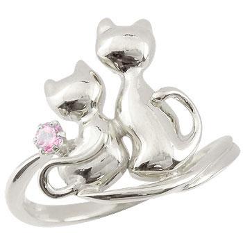 猫 リング ピンクサファイア 指輪 シルバー 9月誕生石 ストレート 贈り物 誕生日プレゼント ギフト ファッション 妻 嫁 奥さん 女性 彼女 娘 母 祖母 パートナー 送料無料