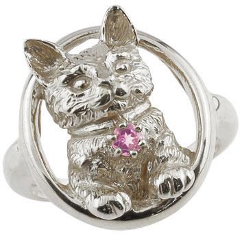 猫 リング ピンクサファイア ピンキーリング 指輪 ホワイトゴールドk18 18金 9月誕生石 ストレート 贈り物 誕生日プレゼント ギフト ファッション 妻 嫁 奥さん 女性 彼女 娘 母 祖母 パートナー 送料無料