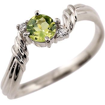 ペリドット リング ダイヤモンド 指輪 ピンキーリング ホワイトゴールドk18 8月誕生石 18金 ダイヤ ストレート 贈り物 誕生日プレゼント ギフト ファッション