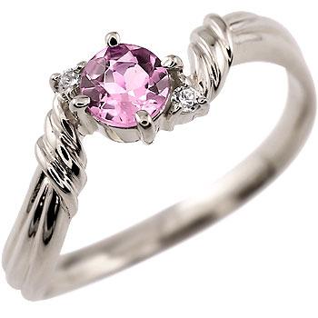 ピンクサファイア リング ダイヤモンド 指輪 ピンキーリング ホワイトゴールドk18 9月誕生石 18金 ダイヤ ストレート 贈り物 誕生日プレゼント ギフト ファッション 妻 嫁 奥さん 女性 彼女 娘 母 祖母 パートナー 送料無料