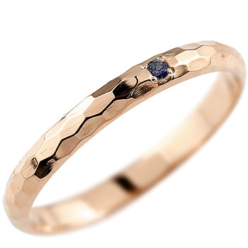 【送料無料】サファイア ピンキーリング ピンクゴールドk18 指輪 一粒 9月誕生石 18金 ストレート 2.3 贈り物 誕生日プレゼント ギフト ファッション