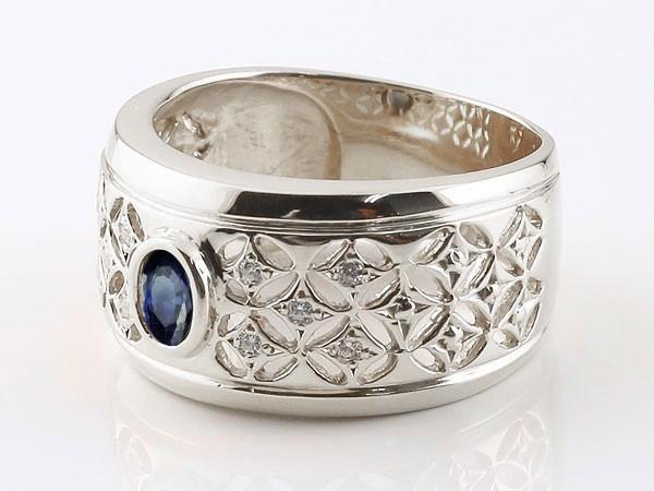 メンズ リング サファイア 指輪 透かし 幅広リング シルバー sv925 キュービックジルコニア 宝石 送料無料