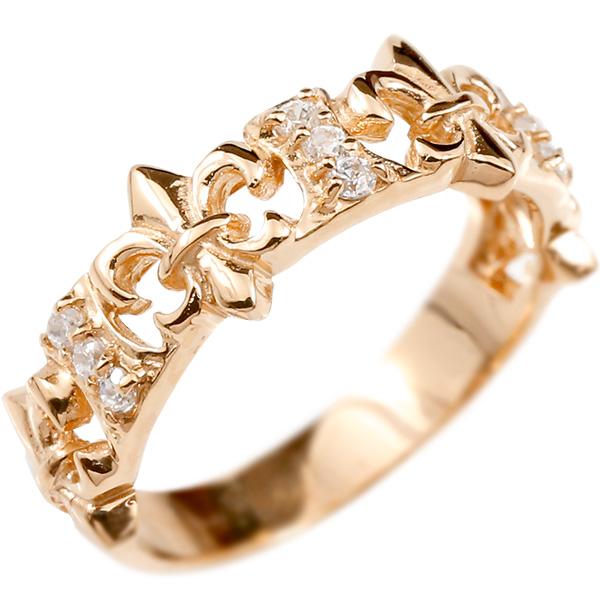 婚約指輪 リング ピンクゴールドk10 ダイヤモンド ユリの紋章 エンゲージリング 指輪 ピンキーリング 10金 フルール・ド・リス 百合 透かし 宝石 レディース