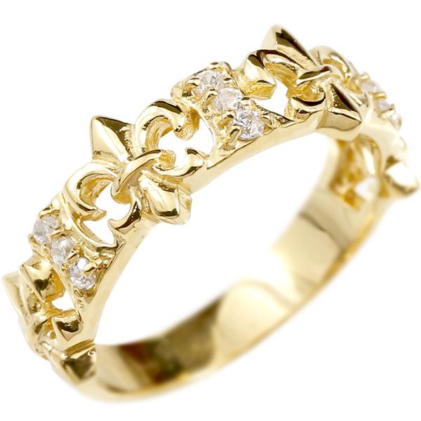 婚約指輪 リング イエローゴールドk10 キュービックジルコニア ユリの紋章 エンゲージリング 指輪 ピンキーリング 10金 フルール・ド・リス 百合 レディース 妻 嫁 奥さん 女性 彼女 娘 母 祖母 パートナー