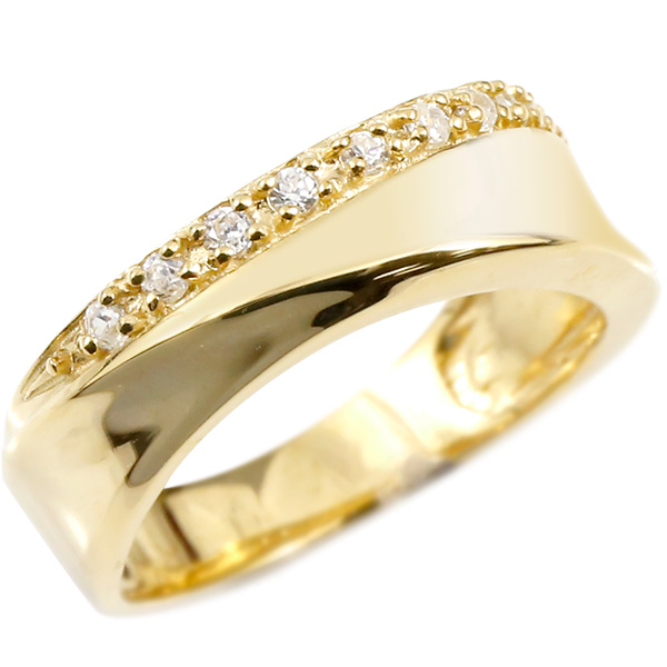 婚約指輪 リング イエローゴールドk18 ダイヤモンド エンゲージリング 指輪 ピンキーリング 18金 レディース