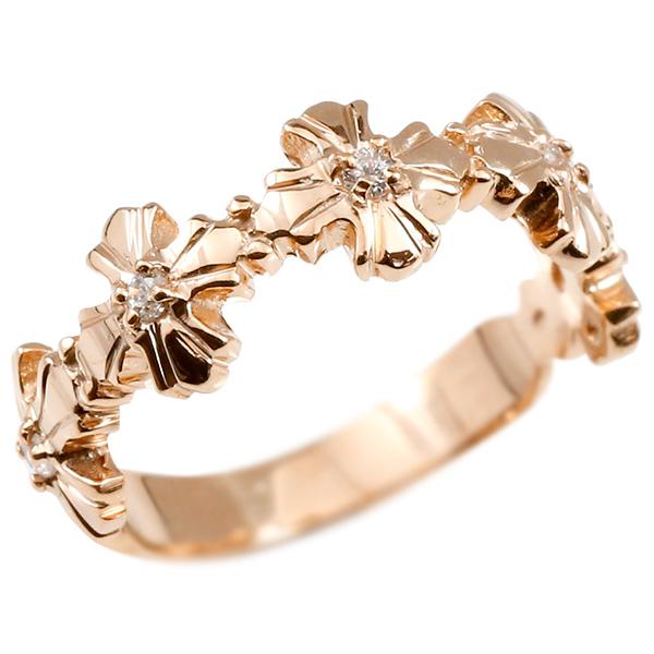 婚約指輪 リング ピンクゴールドk10 ダイヤモンド クロス エンゲージリング 指輪 ピンキーリング 10金 十字架 レディース 妻 嫁 奥さん 女性 彼女 娘 母 祖母 パートナー