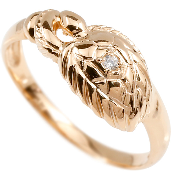 婚約指輪 リング ピンクゴールドk10 ダイヤモンド カメ エンゲージリング 指輪 ピンキーリング 10金 亀 かめ レディース 母の日