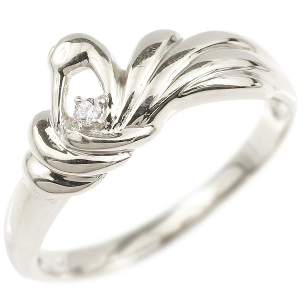 ホワイトゴールドk10 鳥 10金 妻 祖母 ダイヤモンド レディース 女性 つる 嫁 リング 指輪 婚約指輪 ツル 奥さん 娘 母 ピンキーリング 鶴 パートナー エンゲージリング 彼女