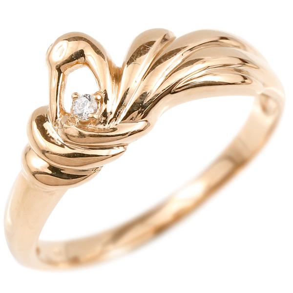 婚約指輪 リング ピンクゴールドk10 ダイヤモンド ツル エンゲージリング 指輪 ピンキーリング 10金 鶴 つる 鳥 レディース 妻 嫁 奥さん 女性 彼女 娘 母 祖母 パートナー