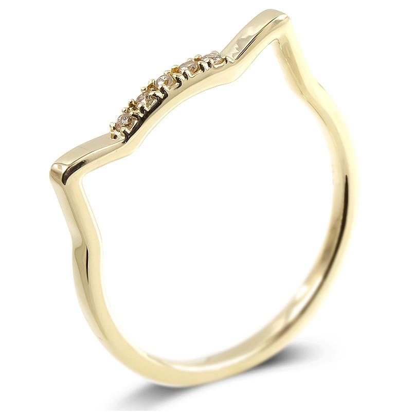 婚約指輪 安い 18金 リング ライトブラウンダイヤモンド 猫 レディース 指輪 ゴールド 18k イエローゴールドk18 エンゲージリング ピンキーリング ネコ 送料無料