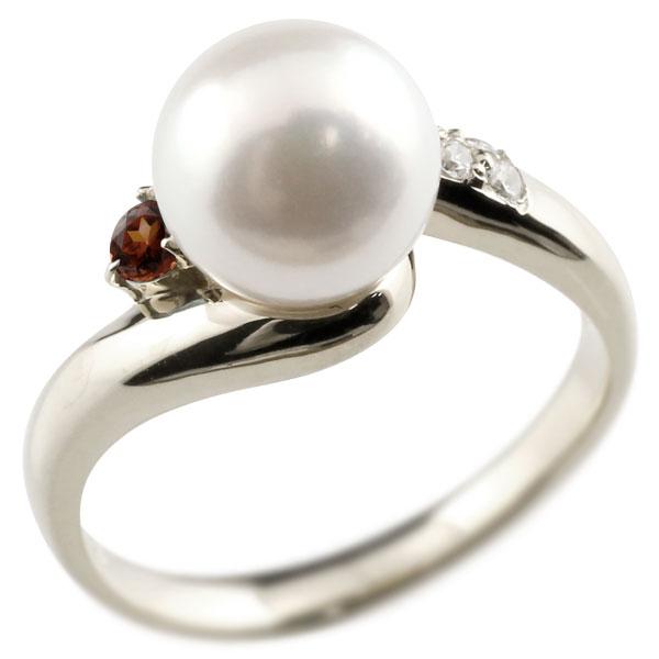 パールリング 真珠 フォーマル ガーネット プラチナ900 リング ダイヤモンド ピンキーリング ダイヤ 指輪 宝石 妻 嫁 奥さん 女性 彼女 娘 母 祖母 パートナー 送料無料
