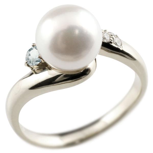 パールリング 真珠 フォーマル アクアマリン ホワイトゴールドk10 リング ダイヤモンド ピンキーリング ダイヤ 指輪 10金 宝石 妻 嫁 奥さん 女性 彼女 娘 母 祖母 パートナー 送料無料
