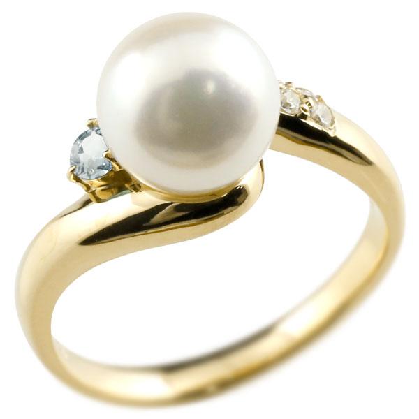 パールリング 真珠 フォーマル アクアマリン イエローゴールドk10 リング ダイヤモンド ピンキーリング ダイヤ 指輪 10金 宝石 妻 嫁 奥さん 女性 彼女 娘 母 祖母 パートナー 送料無料