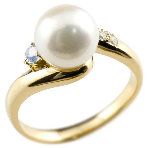 パールリング 真珠 フォーマル ブルームーンストーン イエローゴールドk18 リング ダイヤモンド ピンキーリング ダイヤ 指輪 18金 宝石