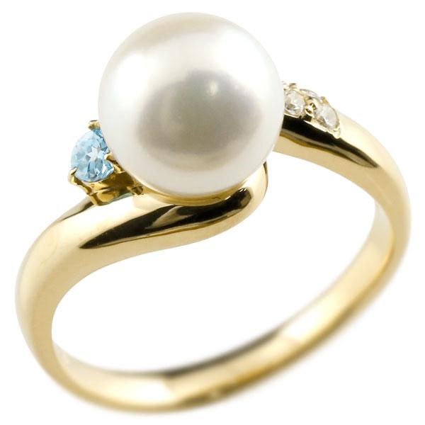 パールリング 真珠 フォーマル ブルートパーズ イエローゴールドk10 リング ダイヤモンド ピンキーリング ダイヤ 指輪 10金 宝石 妻 嫁 奥さん 女性 彼女 娘 母 祖母 パートナー 送料無料