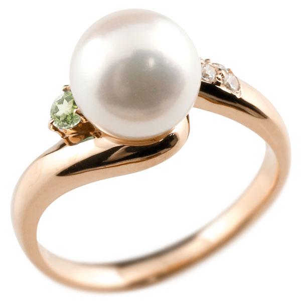 パールリング 真珠 フォーマル ペリドット ピンクゴールドk18 リング ダイヤモンド ピンキーリング ダイヤ 指輪 18金 宝石 妻 嫁 奥さん 女性 彼女 娘 母 祖母 パートナー 送料無料