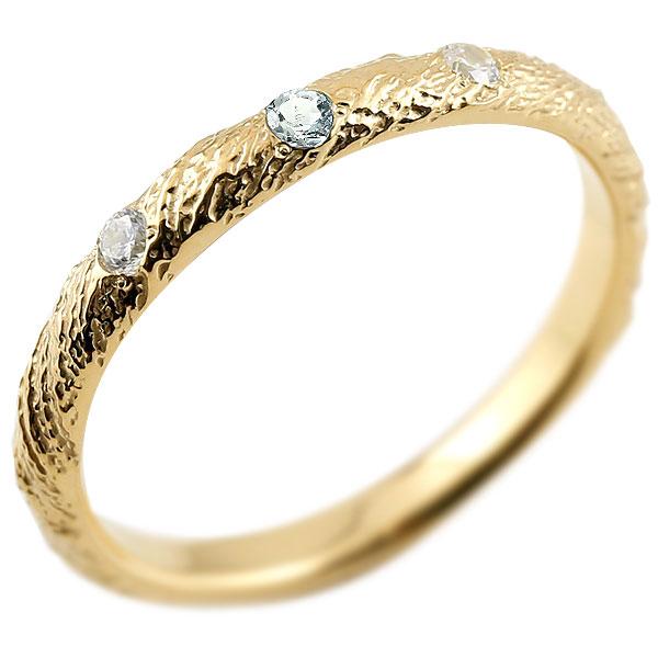 ピンキーリング ダイヤモンド アクアマリン イエローゴールドk18 18金 k18 アンティーク ストレート 3月誕生石 指輪 ダイヤリング 妻 嫁 奥さん 女性 彼女 娘 母 祖母 パートナー 送料無料