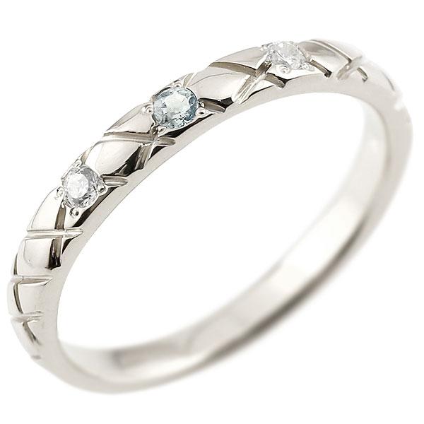 ピンキーリング ダイヤモンド アクアマリン シルバー925 アンティーク ストレート チェック柄 3月誕生石 指輪 ダイヤリング 妻 嫁 奥さん 女性 彼女 娘 母 祖母 パートナー 送料無料