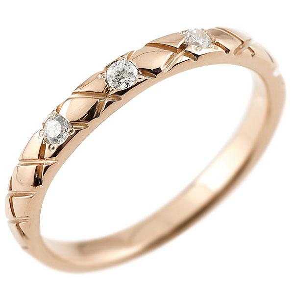 ピンキーリング ダイヤモンド ピンクゴールドk18 18金 k18 アンティーク ストレート チェック柄 4月誕生石 指輪 ダイヤリング 妻 嫁 奥さん 女性 彼女 娘 母 祖母 パートナー 送料無料