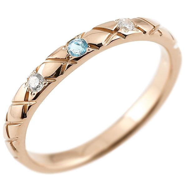ピンキーリング ダイヤモンド ブルートパーズ ピンクゴールドk10 10金 k10 アンティーク ストレート チェック柄 11月誕生石 指輪 ダイヤリング