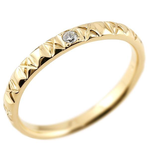 イエローゴールドk18 ピンキーリング ダイヤモンド18金 k18 アンティーク ストレート 指輪 ダイヤリング 妻 嫁 奥さん 女性 彼女 娘 母 祖母 パートナー 送料無料