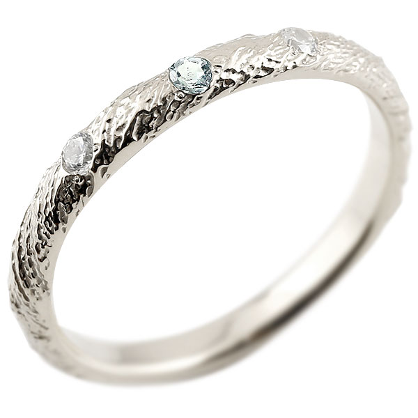 ピンキーリング ダイヤモンド アクアマリン ホワイトゴールドk10 10金 k10 アンティーク ストレート 3月誕生石 指輪 ダイヤリング