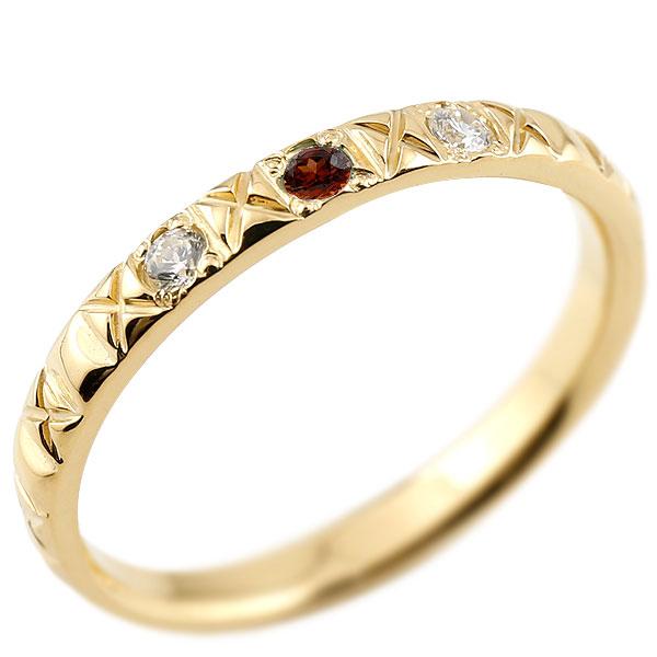 イエローゴールドk18 ピンキーリング ダイヤモンド ガーネット 18金 k18 アンティーク ストレート 1月誕生石 指輪 ダイヤリング 妻 嫁 奥さん 女性 彼女 娘 母 祖母 パートナー 送料無料
