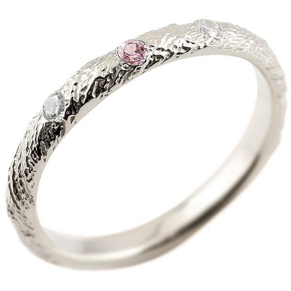 ピンキーリング ダイヤモンド ピンクトルマリン ホワイトゴールドk18 18金 k18 アンティーク ストレート 10月誕生石 指輪 ダイヤリング