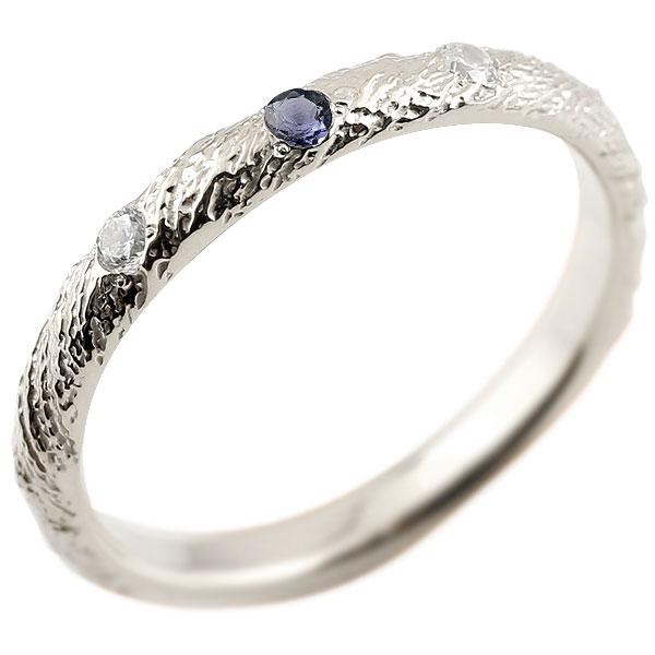 シルバー925 ピンキーリング ダイヤモンド アイオライト アンティーク ストレート 指輪 ダイヤリング 妻 嫁 奥さん 女性 彼女 娘 母 祖母 パートナー 送料無料
