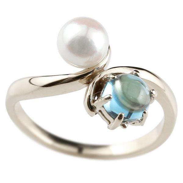パールリング 真珠 フォーマル リング ブルートパーズ プラチナ900 リング 11月誕生石 ピンキーリング 指輪 宝石 妻 嫁 奥さん 女性 彼女 娘 母 祖母 パートナー 送料無料