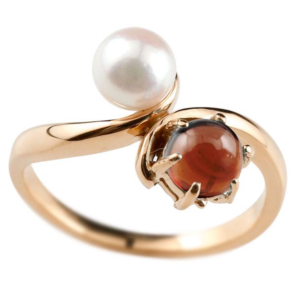 パールリング 真珠 フォーマル リング ガーネット ピンクゴールドk18 リング 18金 1月誕生石 ピンキーリング 指輪 宝石