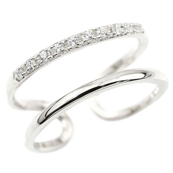 指輪 婚約指輪 ピンキーリング ホワイトゴールドk10 キュービックジルコニア エンゲージリング 2連リング フリーサイズリング フリスタ 10金 妻 嫁 奥さん 女性 彼女 娘 母 祖母 パートナー