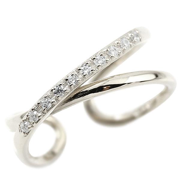 指輪 婚約指輪 ピンキーリング ダイヤモンド ホワイトゴールドk10 エンゲージリング 2連リング フリーサイズリング フリスタ 10金 妻 嫁 奥さん 女性 彼女 娘 母 祖母 パートナー