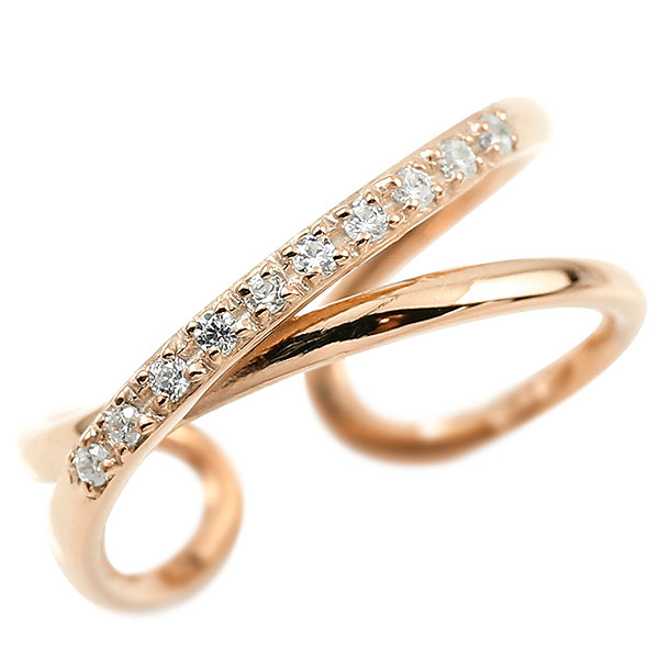 指輪 婚約指輪 ピンキーリング ダイヤモンド ピンクゴールドk18 エンゲージリング 2連リング フリーサイズリング フリスタ 18金 妻 嫁 奥さん 女性 彼女 娘 母 祖母 パートナー