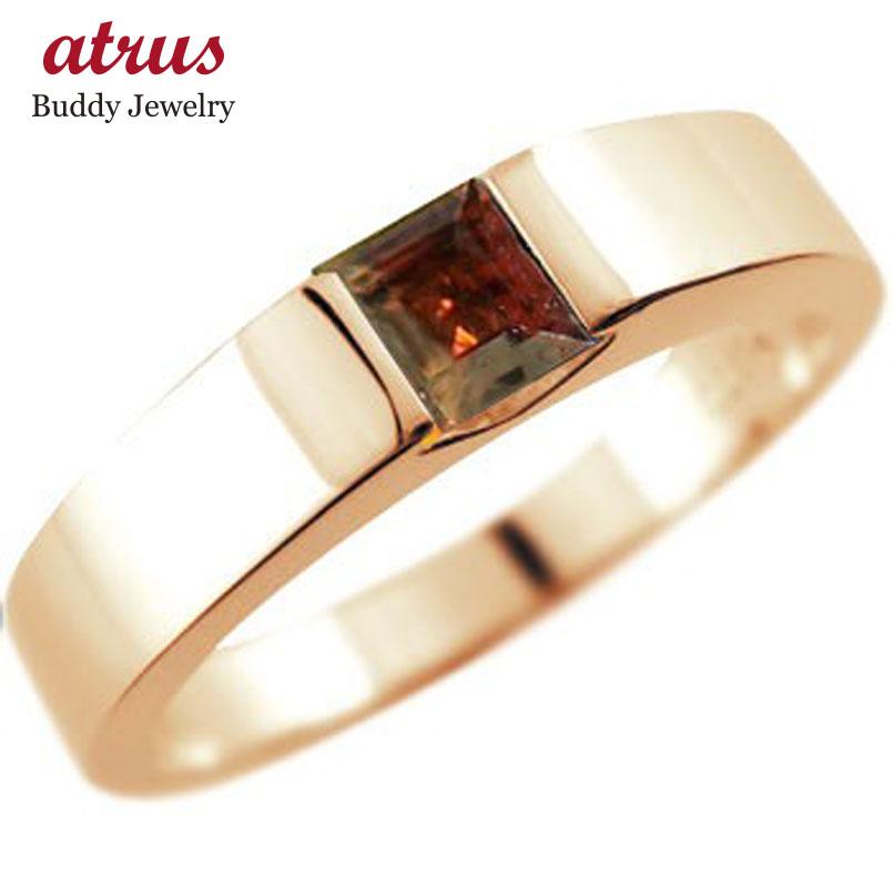ガーネット リング ピンクゴールドk18 指輪 ピンキーリング 1月誕生石 ストレート スクエア 18金 妻 嫁 奥さん 女性 彼女 娘 母 祖母 パートナー