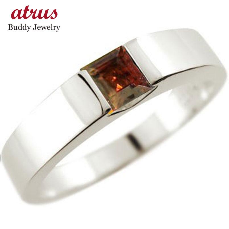 プラチナ ガーネット リング 指輪 ピンキーリング 1月誕生石 ストレート スクエア 妻 嫁 奥さん 女性 彼女 娘 母 祖母 パートナー