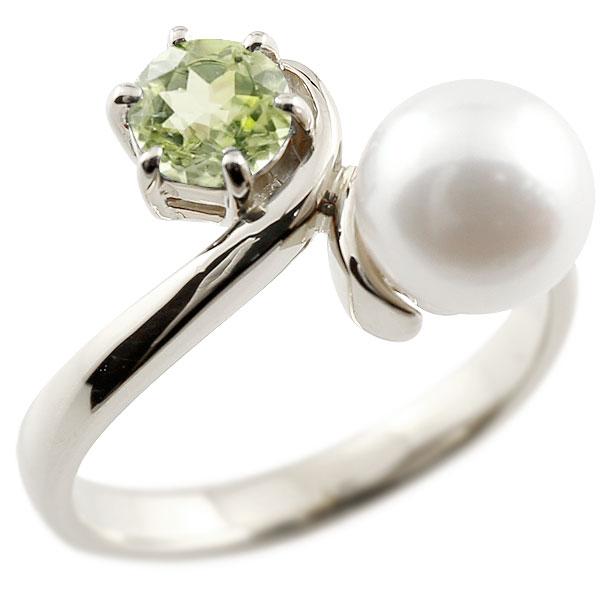 パールリング 真珠 フォーマル ペリドット ホワイトゴールドk18 リング ピンキーリング 指輪 18金 宝石 妻 嫁 奥さん 女性 彼女 娘 母 祖母 パートナー 送料無料