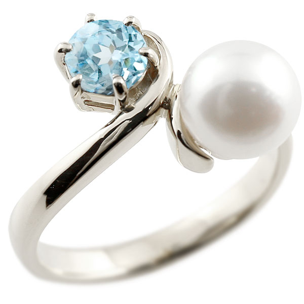 パールリング 真珠 フォーマル ブルートパーズ ホワイトゴールドk18 リング ピンキーリング 指輪 18金 宝石 妻 嫁 奥さん 女性 彼女 娘 母 祖母 パートナー 送料無料