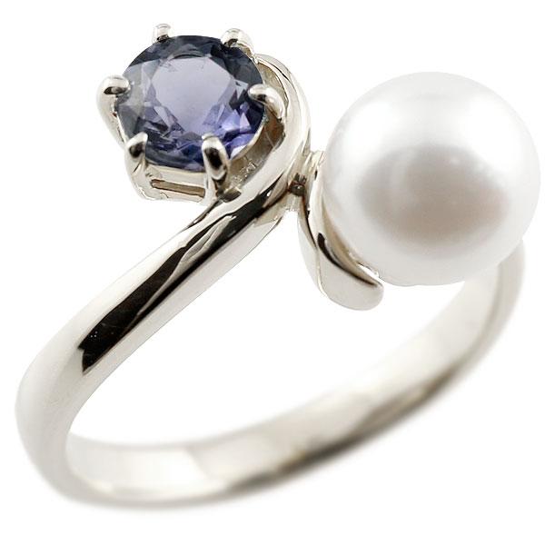 パールリング 真珠 フォーマル アイオライト ホワイトゴールドk18 リング ピンキーリング 指輪 18金 宝石 妻 嫁 奥さん 女性 彼女 娘 母 祖母 パートナー 送料無料
