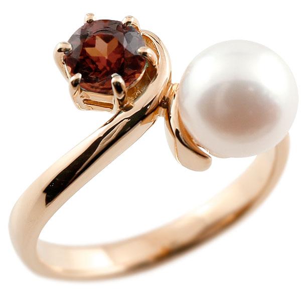 パールリング 真珠 フォーマル ガーネット ピンクゴールドk18 リング ピンキーリング 指輪 18金 宝石