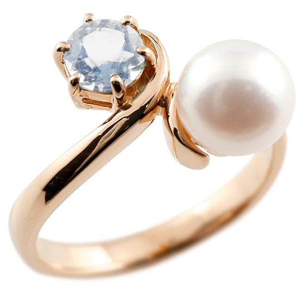 パールリング 真珠 フォーマル ブルームーンストーン ピンクゴールドk10 リング ピンキーリング 指輪 10金 宝石 妻 嫁 奥さん 女性 彼女 娘 母 祖母 パートナー 送料無料