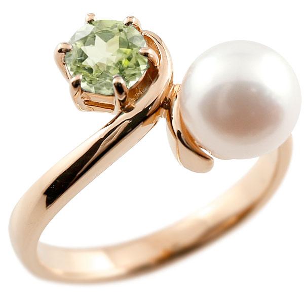 パールリング 真珠 フォーマル ペリドット ピンクゴールドk10 リング ピンキーリング 指輪 10金 宝石 妻 嫁 奥さん 女性 彼女 娘 母 祖母 パートナー 送料無料