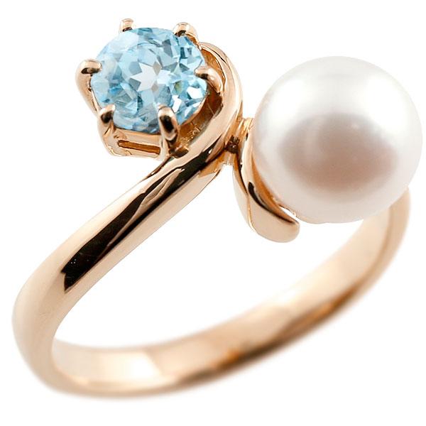パールリング 真珠 フォーマル ブルートパーズ ピンクゴールドk10 リング ピンキーリング 指輪 10金 宝石 妻 嫁 奥さん 女性 彼女 娘 母 祖母 パートナー 送料無料